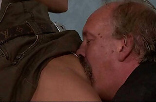 He leaves and old dad licks and fucks his GF pussy.  xxx porn