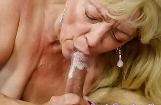 Saggy grandma receives cum in mouth.  xxx porn