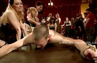 mistresses: Man sex slave in middle of mistress ritual is forced to fuck in sado maso femdom
