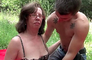 Granny gets asshole invaded outdoors.  xxx porn