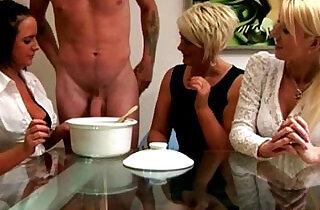 Euro CFNM milfs collecting his cum.  xxx porn