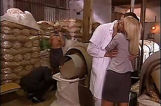 Sexual orgy in a factory with two blonde sluts.  xxx porn