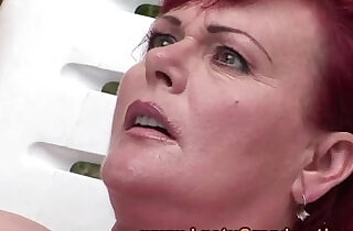 Ginger mature granny fingered outdoors.  xxx porn