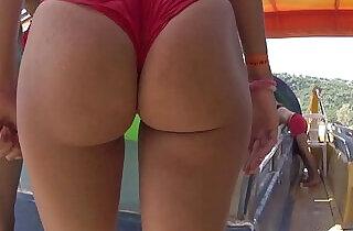 Bikini Thong Latina Big Ass Close Ups Beach Voyeur.  xxx porn