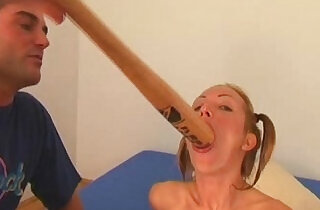 Angela Winters playing wih bat.  xxx porn