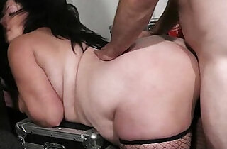He doggystyles chubby lady in fishnets.  ladies   xxx porn
