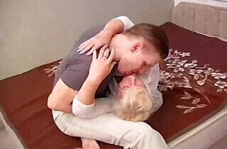 Hot Russian mother fucking pussy with her young son on bed.  xxx porn