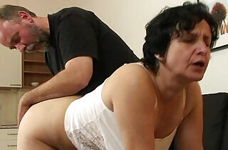 Granny in white lingerie swallowing two cocks after pussy toying.  xxx porn