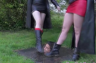 British femdoms humiliating subject outdoors.  xxx porn