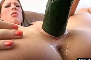 Excited big titted girl strips and masturbates with cucumber.  xxx porn