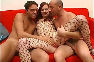 Threesome for this bitch in a fishnet.  so young  ,  young-old   xxx porn