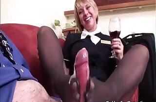 Stewardess Flight Footjob.  xxx porn
