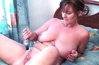 Granny fucks her pussy and asshole with dildos.  xxx porn