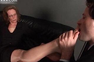 Nasty mature slut gets her feet sucked.  xxx porn