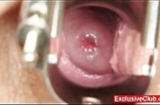 Hot babe masturbating her pussy during gyno exam.  xxx porn