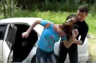 Brunette babe getting pussy Fucked Next to Car.  xxx porn