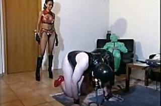 Hot femdom playing around with her slaves.  xxx porn