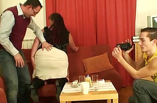 Older plumper takes two cocks.  so young  ,  young-old   xxx porn