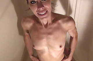 hot naked and wet skinny brunnete showering at home.  xxx porn