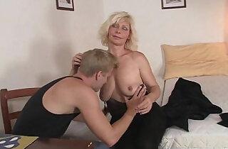 Nice blonde woman pleases neighbor.  xxx porn