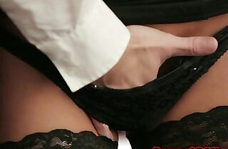 Office secretary in stockings fucked on desk.  xxx porn