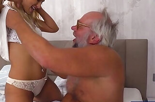 Chary kiss finger grandpas ass while jerking him off for cum.  kisses   xxx porn