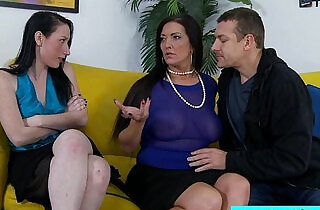 Stepmom and stepdaughter sharing cock.  wife shared   xxx porn