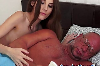 Young blonde babe squirting on grandpas cock.  xxx porn