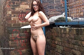 Geeky outdoor public nudity of sexy babe flashing boobs and showing.  public place  ,  skinny fucked   xxx porn