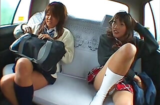 Asian two schoolgirl and taxi driver making sex in the car.  xxx porn
