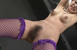 Kinky babe in fishnet stockings tied and fondled with toys.  toying   xxx porn