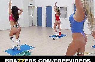 Slutty blonde aerobics teacher rides her students big cock.  xxx porn