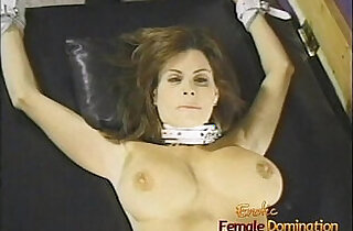 Charming brunette with big naturals gets whipped by two hot dominas.  xxx porn