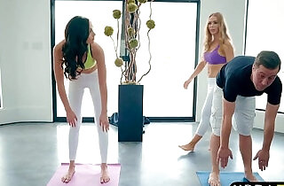 Yoga session of a guy turns into a threesome with two babes.  xxx porn