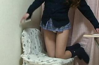 Japanese schoolgirl upskirt from under desk.  xxx porn