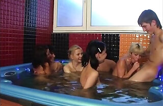 A group of naked students are in the pool hardly fucking.  xxx porn