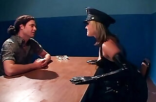 Naughty female cop fucking in latex lingerie.  xxx porn