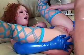 Redhead fucking in stockings and latex lingerie.  xxx porn