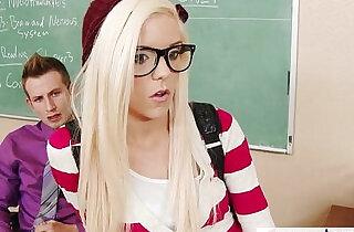 Geeky schoolgirl Halle Von fuck in classroom.  xxx porn