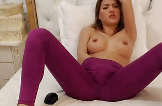 Hot asian in yoga pants fingers herself on webcam.  xxx porn