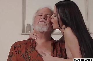 Teen Interrupts Grandpa from Yoga And Sucks big Cock wet and hard.  xxx porn