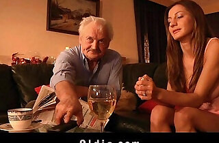 Old man fucked me my tight young pussy I swallow and lick his cum.  xxx porn